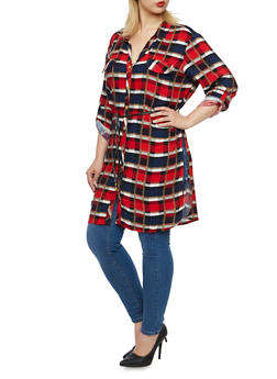 Plus Size Plaid Tunic Top with Belt - RED - 3803038347680