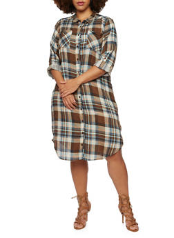 Plus Size Plaid Shirt Dress with Zippered Sides - 3803038347681
