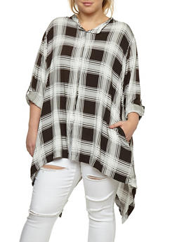 Plus Size Plaid Button Front Asymmetrical Top - 3803038348652