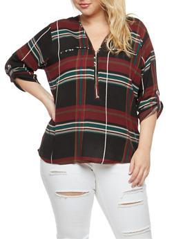 Plus Size Zip Neck Top - HUNTER - 3803038348653