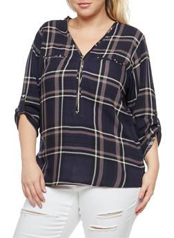 Plus Size Zip Neck Top - NAVY - 3803038348653