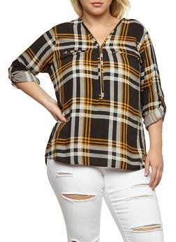 Plus Size Zip Neck Top - 3803038348653