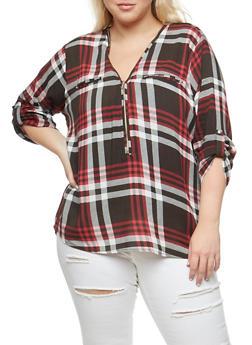 Plus Size Zip Neck Top - BURGUNDY - 3803038348653