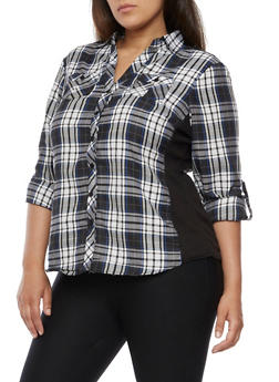 Plus Size Plaid Shirt with Rib Knit Sides - BLACK/BLUE - 3803051060023