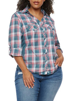 Plus Size Plaid Shirt with Rib Knit Sides - PINK - 3803051060023