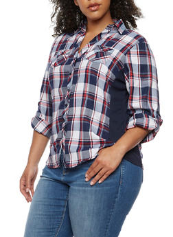 Plus Size Plaid Shirt with Rib Knit Sides - NAVY - 3803051060023