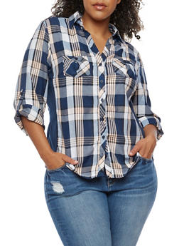 Plus Size Plaid Shirt with Rib Knit Sides - BLUE/BLUSH - 3803051060023