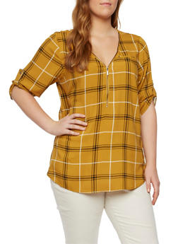 Plus Size Plaid Zippered V Neck Top - 3803051060067