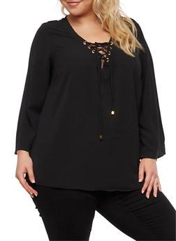 Plus Size Crepe Knit Lace Up Top - 3803051060363