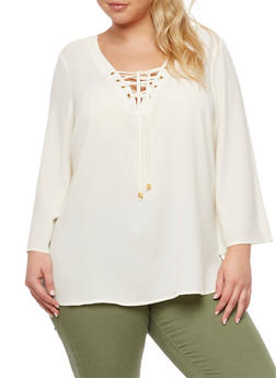 Plus Size Crepe Knit Lace Up Top - IVORY - 3803051060363