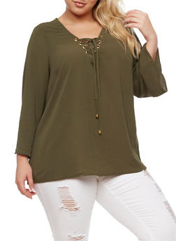 Plus Size Crepe Knit Lace Up Top - 3803051060363