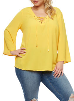 Plus Size Crepe Knit Lace Up Top - MUSTARD - 3803051060363