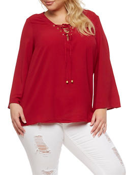 Plus Size Crepe Knit Lace Up Top - BURGUNDY - 3803051060363