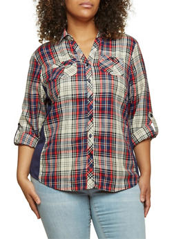 Plus Size Plaid Top with Ribbed Insets - NAVY - 3803051060623