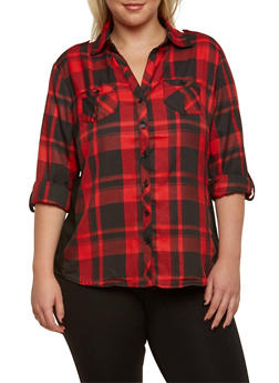 Plus Size Plaid Top with Ribbed Insets - RED - 3803051060623