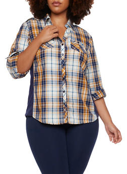 Plus Size Plaid Top with Ribbed Insets - YELLOW - 3803051060623