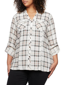 Plus Size Plaid Button-Down Top with Mandarin Collar - 3803051060659
