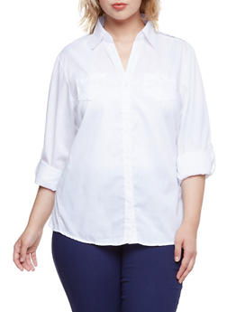 Plus Size Button-Up Top with Rib-Knit Side Insets - WHITE - 3803051060662