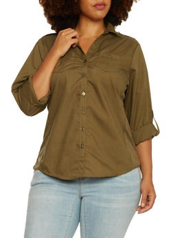 Plus Size Button-Up Top with Rib-Knit Side Insets - OLIVE - 3803051060662