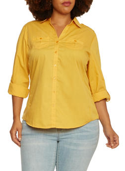 Plus Size Button-Up Top with Rib-Knit Side Insets - 3803051060662