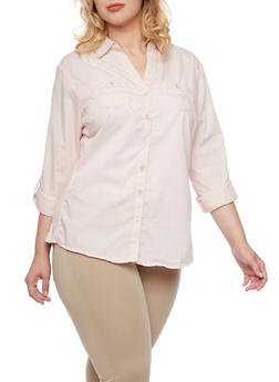 Plus Size Button-Up Top with Rib-Knit Side Insets - BLUSH - 3803051060662