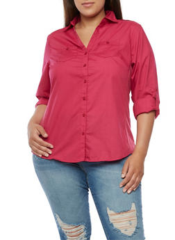 Plus Size Button Front Top with Rib Knit Sides - 3803051060666
