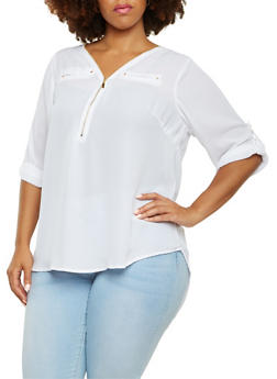 Plus Size Chiffon Blouse with Button-Cuff Sleeves - 3803051060675