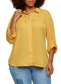 Plus Size Chiffon Top with Zip Pockets - 3803051060678