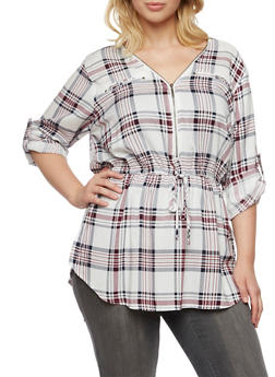 Plus Size Plaid Tunic Top with Button Cuff Sleeves - IVORY - 3803051060685