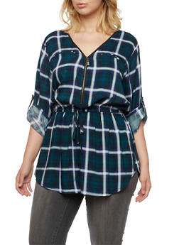 Plus Size Plaid Tunic Top with Button Cuff Sleeves - RYL BLUE - 3803051060685