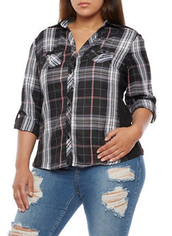 Plus Size Plaid Button Front Top with Rib Knit Panel - BLACK/WHITE - 3803051061623