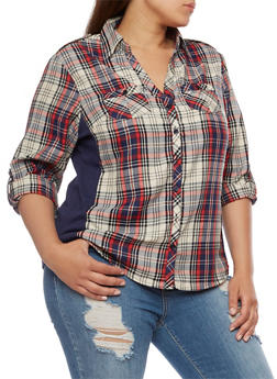 Plus Size Plaid Button Front Top with Rib Knit Panel - NAVY/RED - 3803051061623