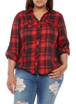 Plus Size Plaid Button Front Top with Rib Knit Panel - BLACK/RED - 3803051061623