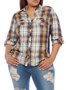 Plus Size Plaid Button Front Top with Rib Knit Panel - 3803051061623