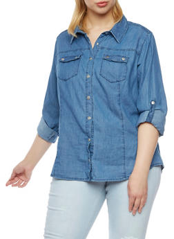 Plus Size Chambray Shirt with Snap Front - INDIGO - 3803051066585