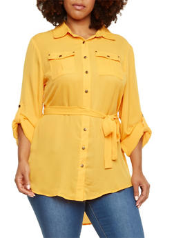 Plus Size Belted Tunic Top with Button Front - 3803051066705