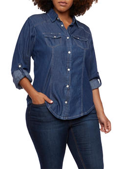 Plus Size Chambray Shirt with Button Front - 3803051066735