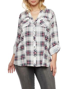 Plus Size Plaid Shirt with High Low Hem - PINK - 3803051066765