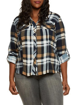 Plus Size Plaid Shirt with High Low Hem - 3803051066765