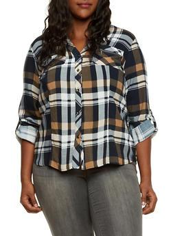 Plus Size Plaid Button Up Shirt with High Low Hem - 3803051066765