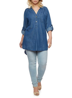 Plus Size Denim Tunic Top with High Low Hem - 3803051066792