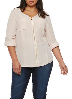 Plus Size Semi-Sheer Blouse with Button-Cuff Sleeves - 3803051066822