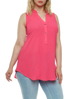 Plus Size Textural Top with Tulip Back and Button V-Neck - 3803051066834