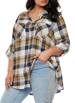 Plus Size Plaid Button Front Shirt with Tabbed Sleeves - 3803051066838