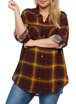 Plus Size Plaid Button Front Shirt with Tabbed Sleeves - BURG/MUSTARD - 3803051066838
