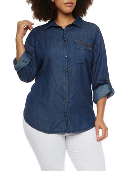 Plus Size Chambray Shirt with High Low Hem - 3803051066850