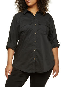 Plus Size Button-Up Top with Button-Cuff Sleeves - 3803051066859