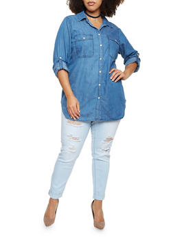 Plus Size Denim Button Up Top with Pockets - 3803051066865