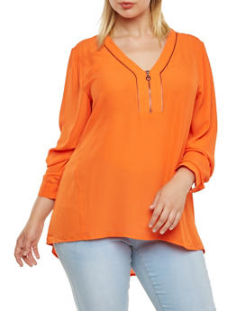 Plus Size Chiffon Top with Zipper Accent - 3803051066869