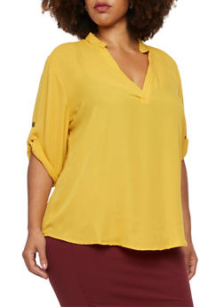 Plus Size Blouse with Tabbed Sleeves - MUSTARD - 3803051066873